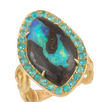 BOULDER OPAL ELEANORA RING by PAMELA FROMAN Unique Boulder Opal and Pave Paraiba Tourmaline Set in 18K Yellow Gold $9,680