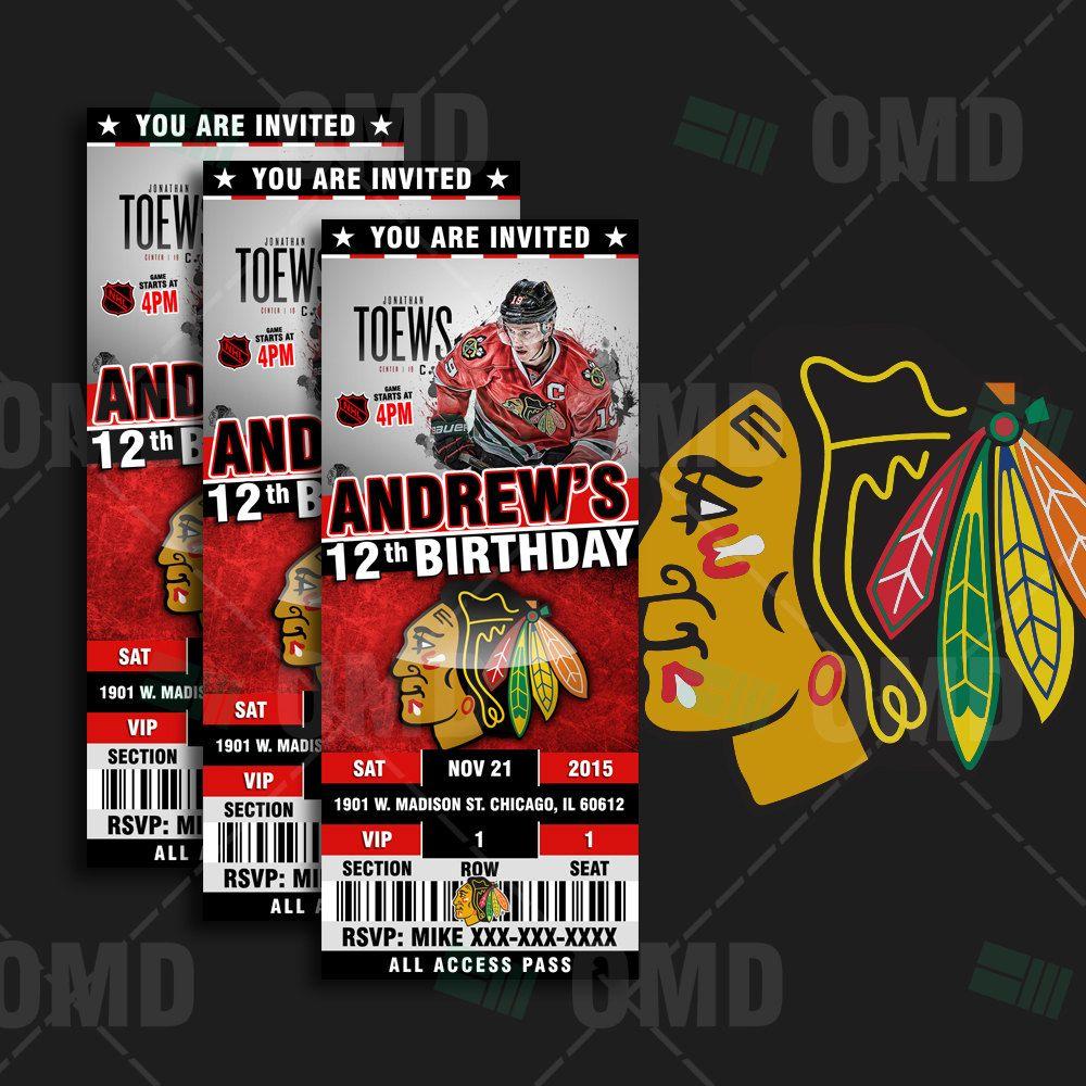 2.5x6 Chicago Blackhawks Hockey Sports Party Invitation, Blackhawks ...