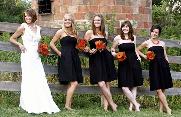 Black Bridesmaids Dresses With Colored Flowers And Accessories