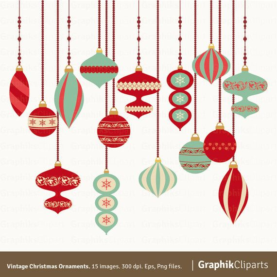 Vintage Christmas Ornaments Ornaments Clipart Christmas Vectors Retro Clip Art 15 Eps Png Files In 2020 Vintage Christmas Ornaments Vintage Christmas Retro Christmas Decorations
