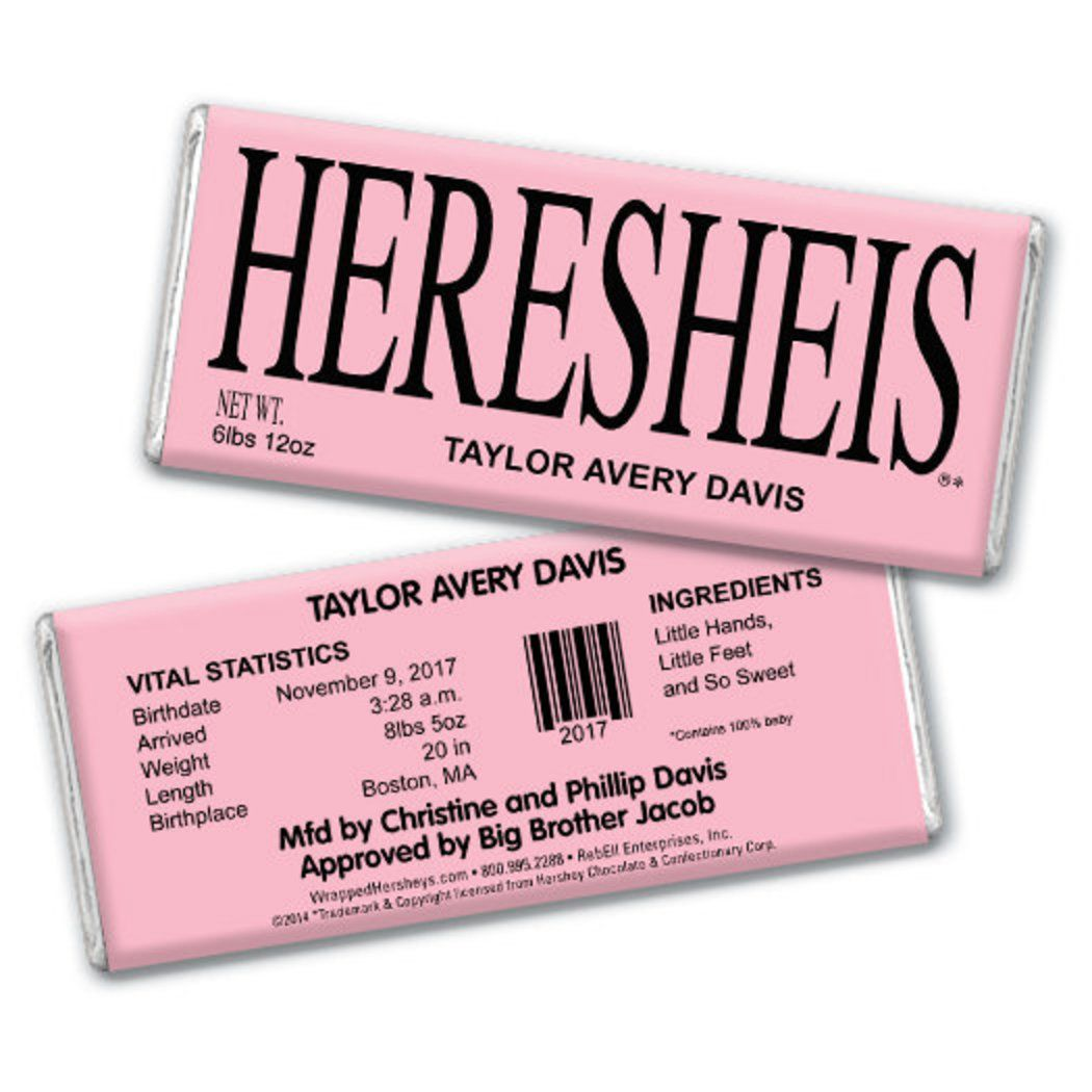 Personalized Say Hello Baby Girl Birth Announcement Hershey S Chocolate Bar Wrapper Birth Announcement Girl Baby Girl Birth Announcement Personalized Candy Bars