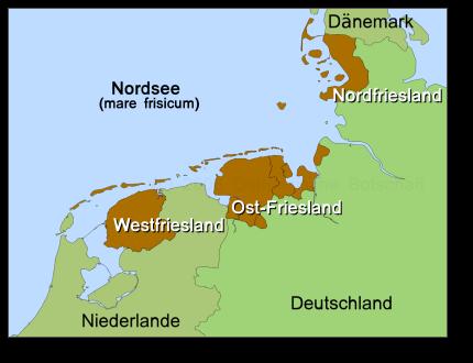 """friesland karte deutschland Frisia est omnis divisa in partes tres…"""" Ganz Friesland ist in"""