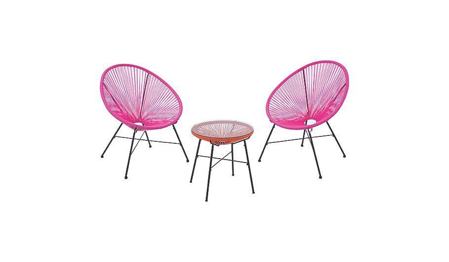 Pink Garden Furniture Camden 3 piece bistro set pink and orange read reviews and buy garden furniture home garden george at asda workwithnaturefo