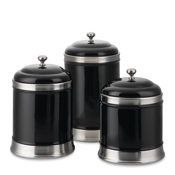 Williams-Sonoma Canisters, Set Of 3, Black