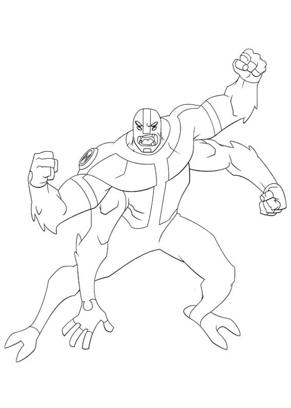 Four Arms Change Of Ben Tennyson Coloring Page Cartoon Coloring Pages Ben 10 Coloring Books