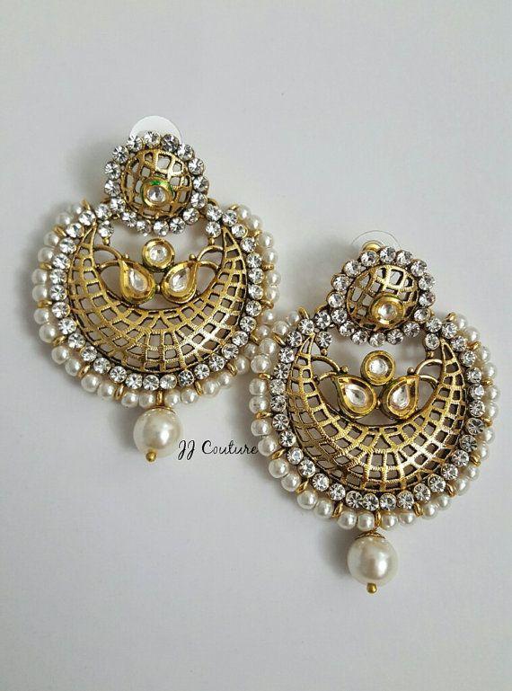 Designer Bollywood Earrings Gold Earrings by JJCOUTUREJEWELS