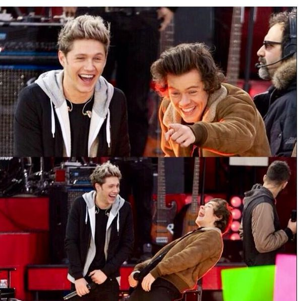"Narry laughing at the "" I <3 Gemma #gemmaisthebetterstyles "" poster! Hahaha"