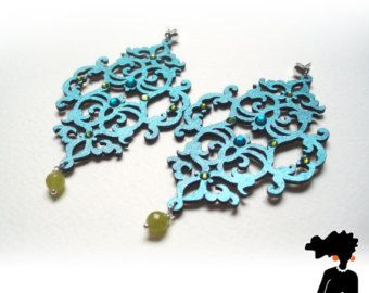 ARABESQUE inspired EARRINGS made of wood, HANDPAINTED, bright colors, silver 925