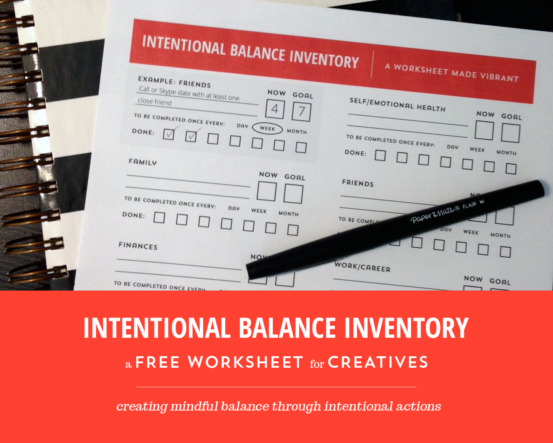 Freebie Friday Intentional Balance Worksheet