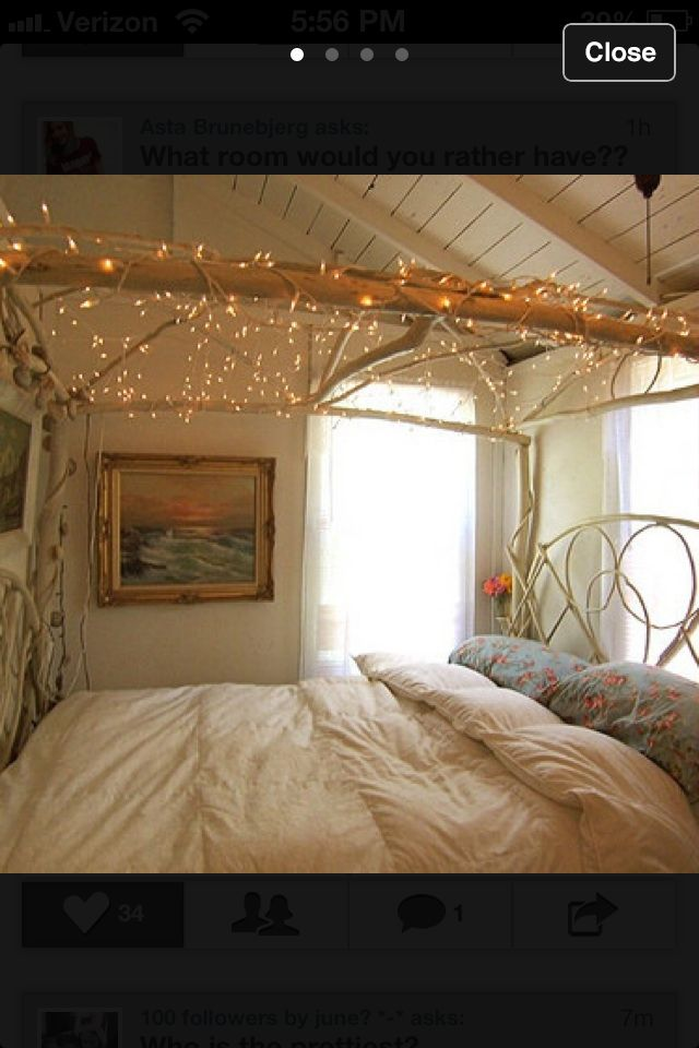 Love the christmas lights as a bed canopy ) home decor