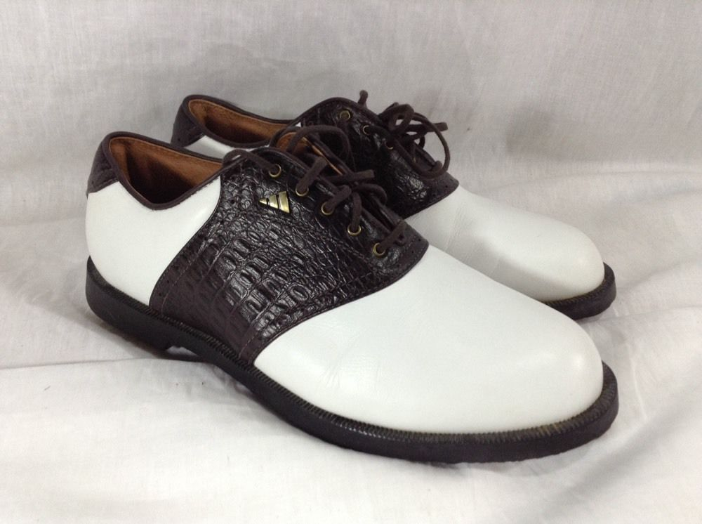ADIDAS Men Golf Shoes Saddle 2-Traxion Size 8.5 White Brown Leather