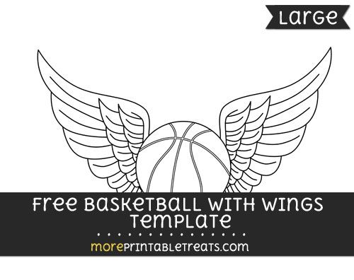 Free Basketball With Wings Template - Large Shapes and Templates - black and white basketball template
