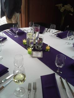 Vibrant purple and white table setting | Event Decorations ...