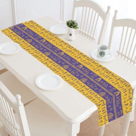 MYPOP Ancient Tribal Art Indian Table Runner Home Decor 14x72 Inch, Ethnic  Boho Table Cloth