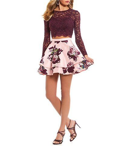 City Vibe LongSleeve Lace with Floral Skirt TwoPiece Dress - Dillards dresses formal, Two piece homecoming dress, Lace top long sleeve, Elegant homecoming dresses, Dillards dress, Long sleeve homecoming dresses -