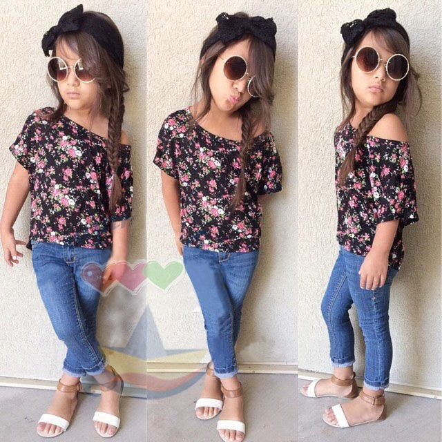 Solid Denim Jeans Pants Sets US Kids Summer Clothes Girls Short Sleeve T-shirt