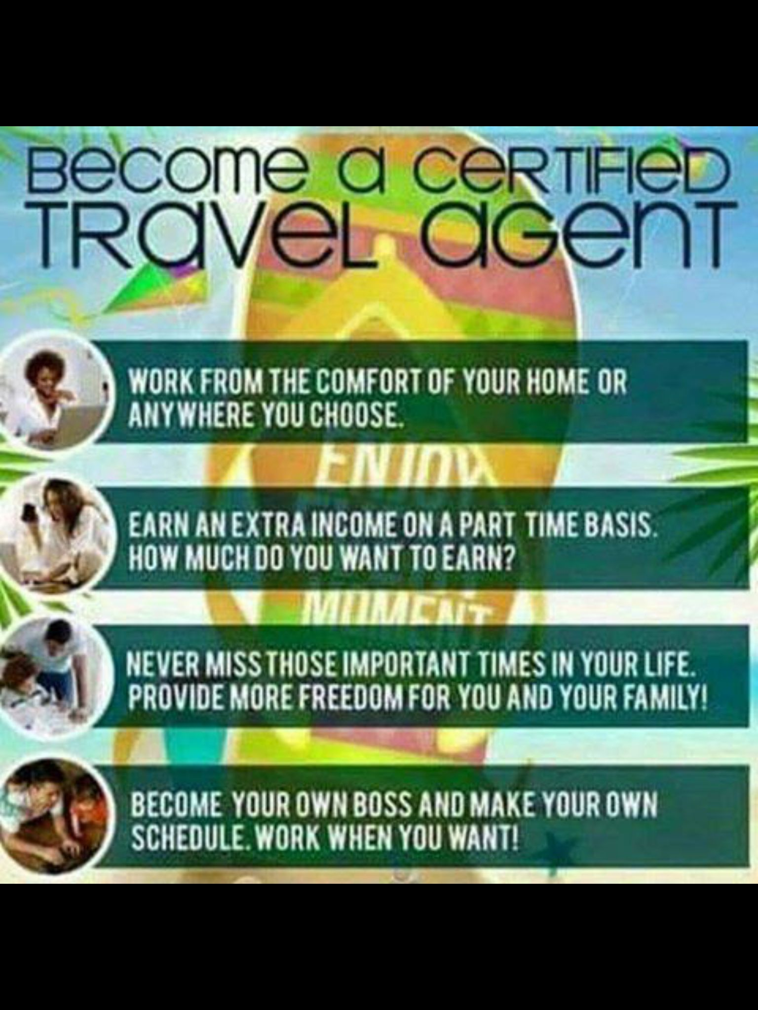 For more info about becoming a Travel Agent, message me! You