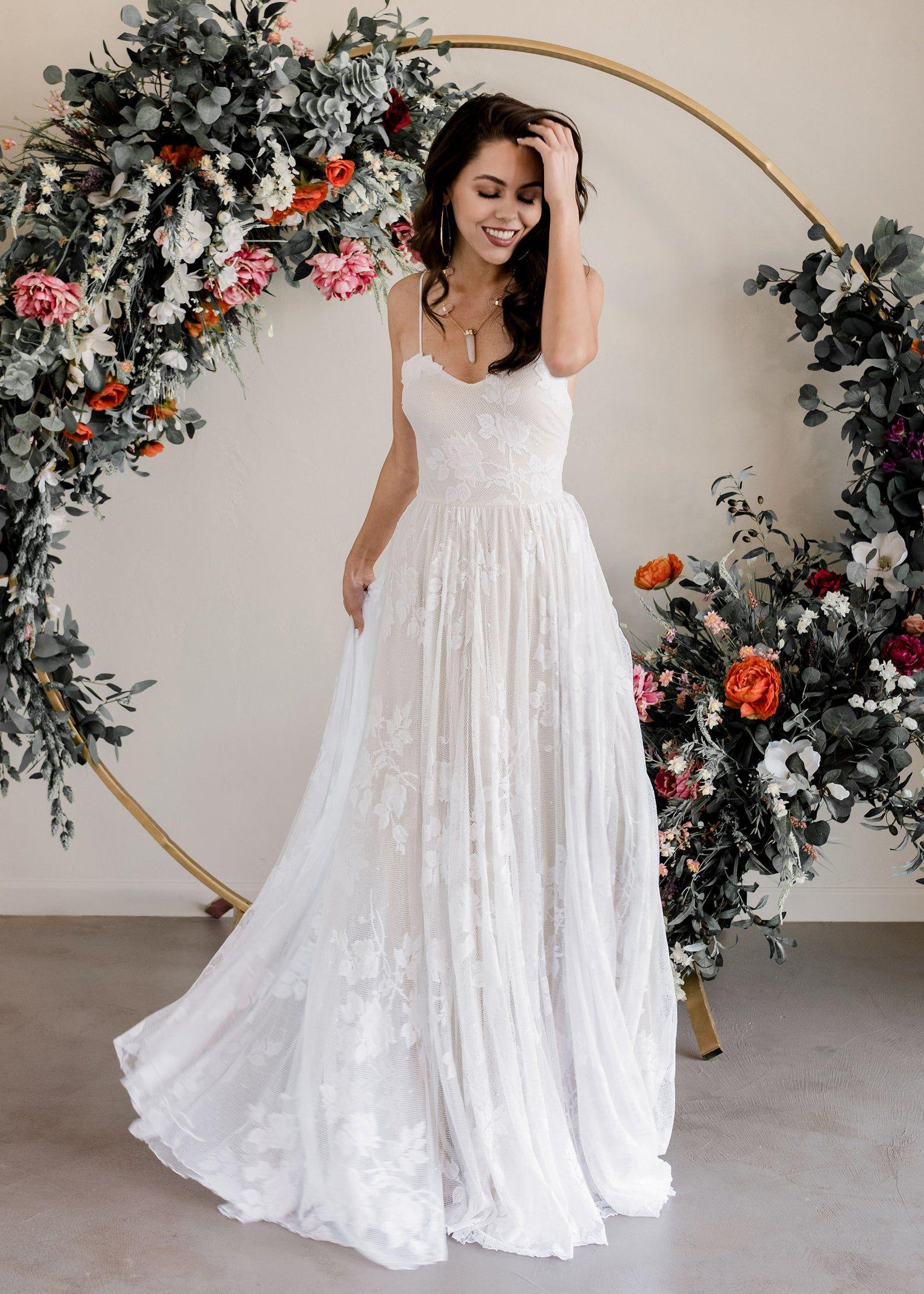 Lace Wedding Dress, Boho Wedding Dress, Beach Wedding