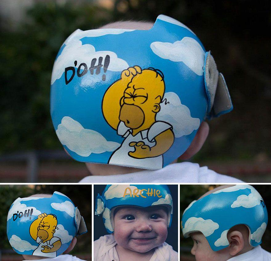 Babies Medical Helmets Transformed Babyhelmetpaintinglazardo - Baby helmet decals