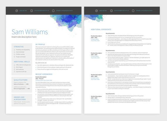 Modern Resume Template  Page Professional By Pureresume On Etsy