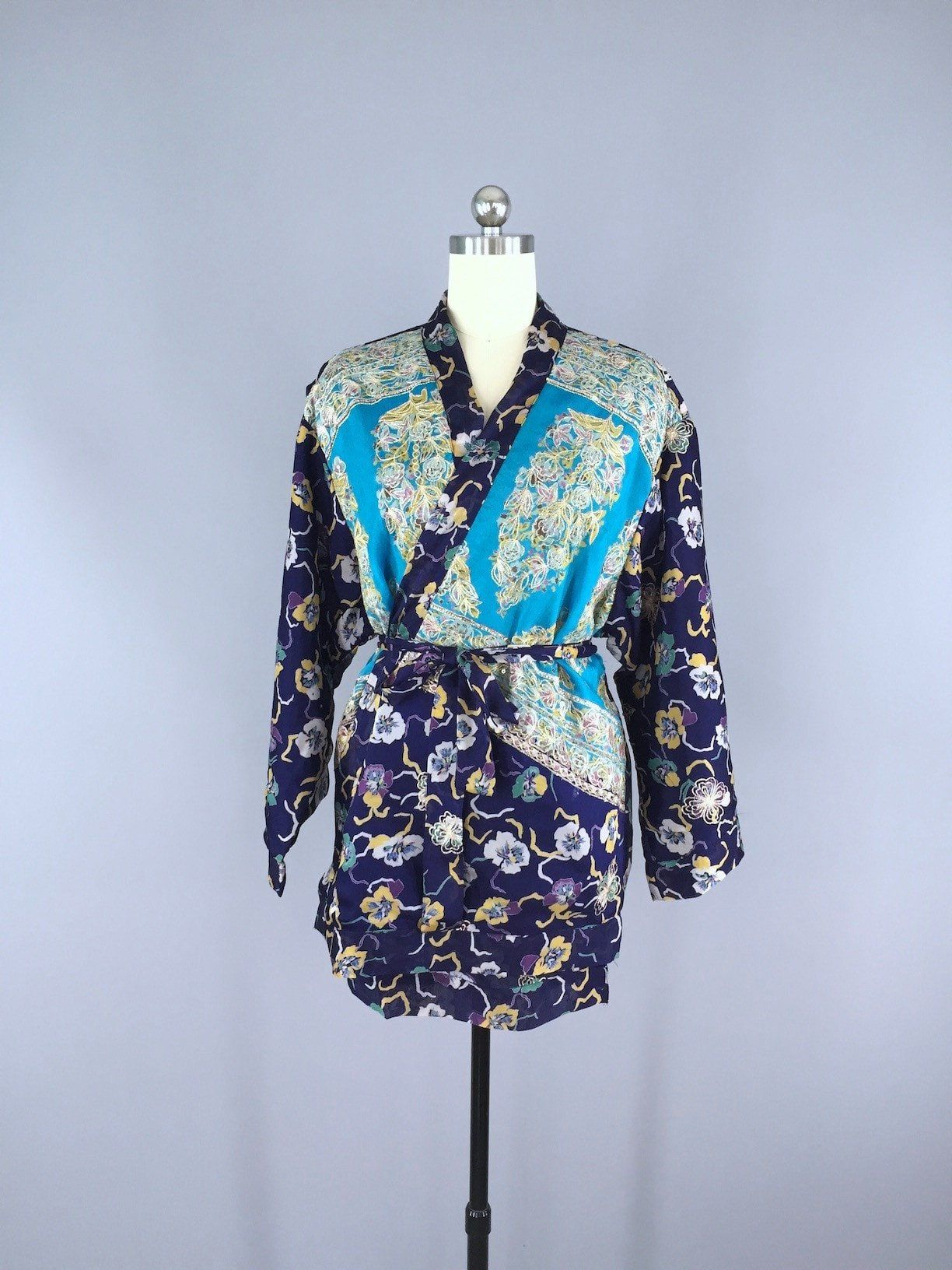 Blue Pansy Embroidered Silk Chiffon Kimono Cardigan made from a ...