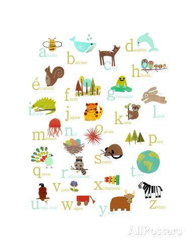 L 39 alphabet fran ais kunstdrucke von rebecca peragine bei kinderzimmer - Kinderzimmer franzosisch ...