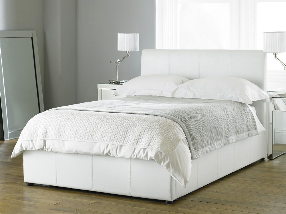 Bali White Bycast Leather Storage Bed 369 White Leather Bed Leather Bedroom Furniture
