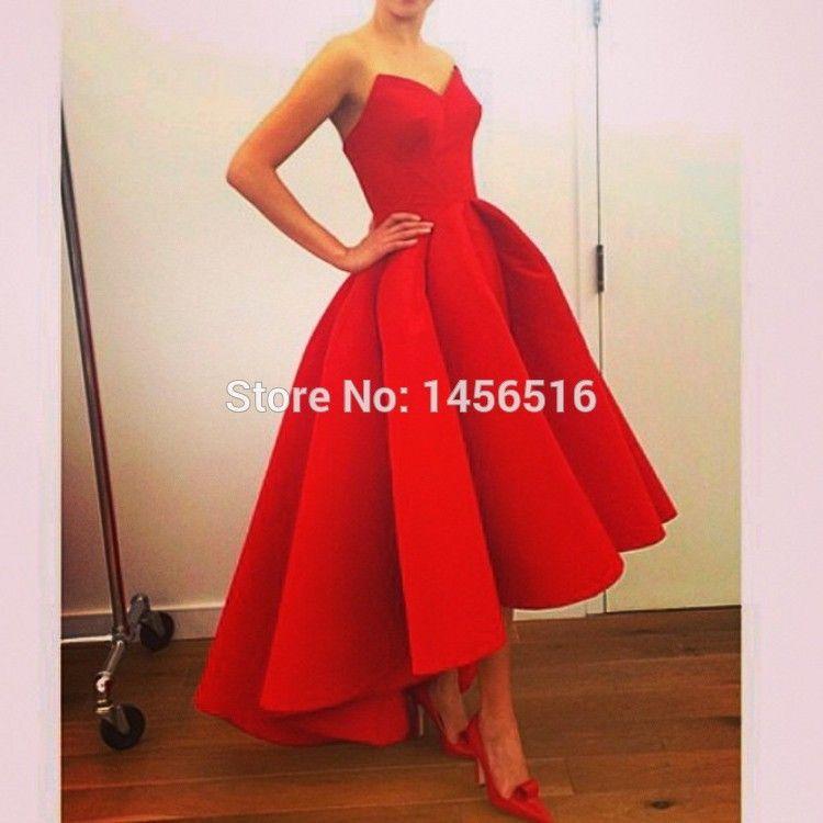 Cheap Larga bola roja vestido de noche vestido corto 2016 de novia