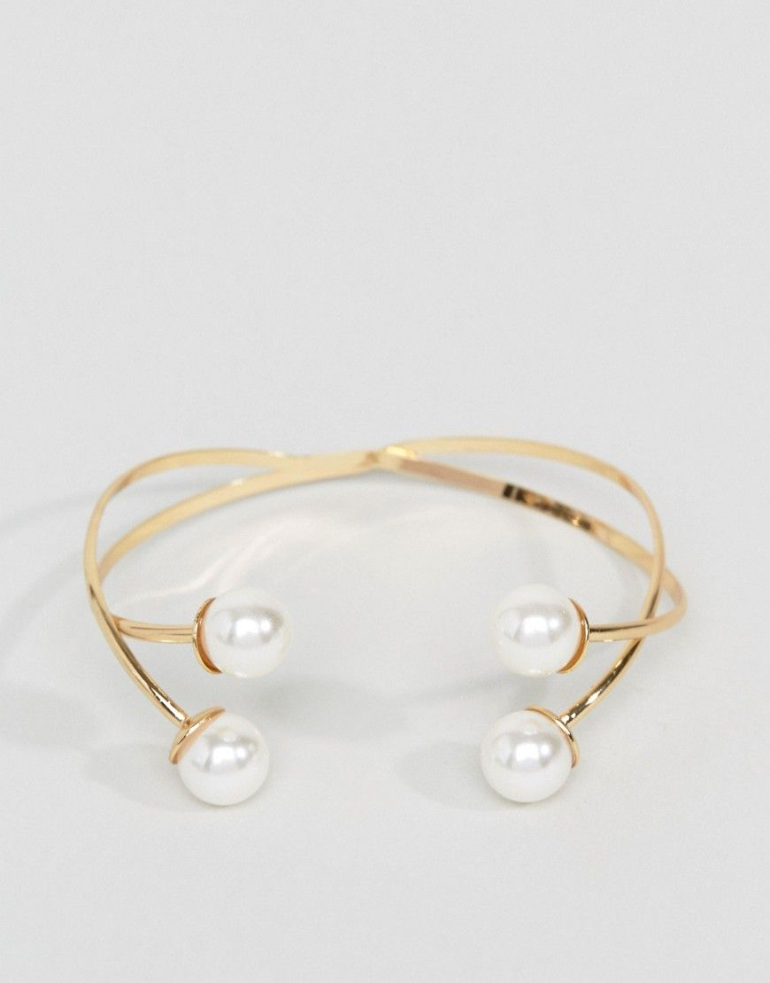 Asos double pearl cuff bracelet gold products pinterest