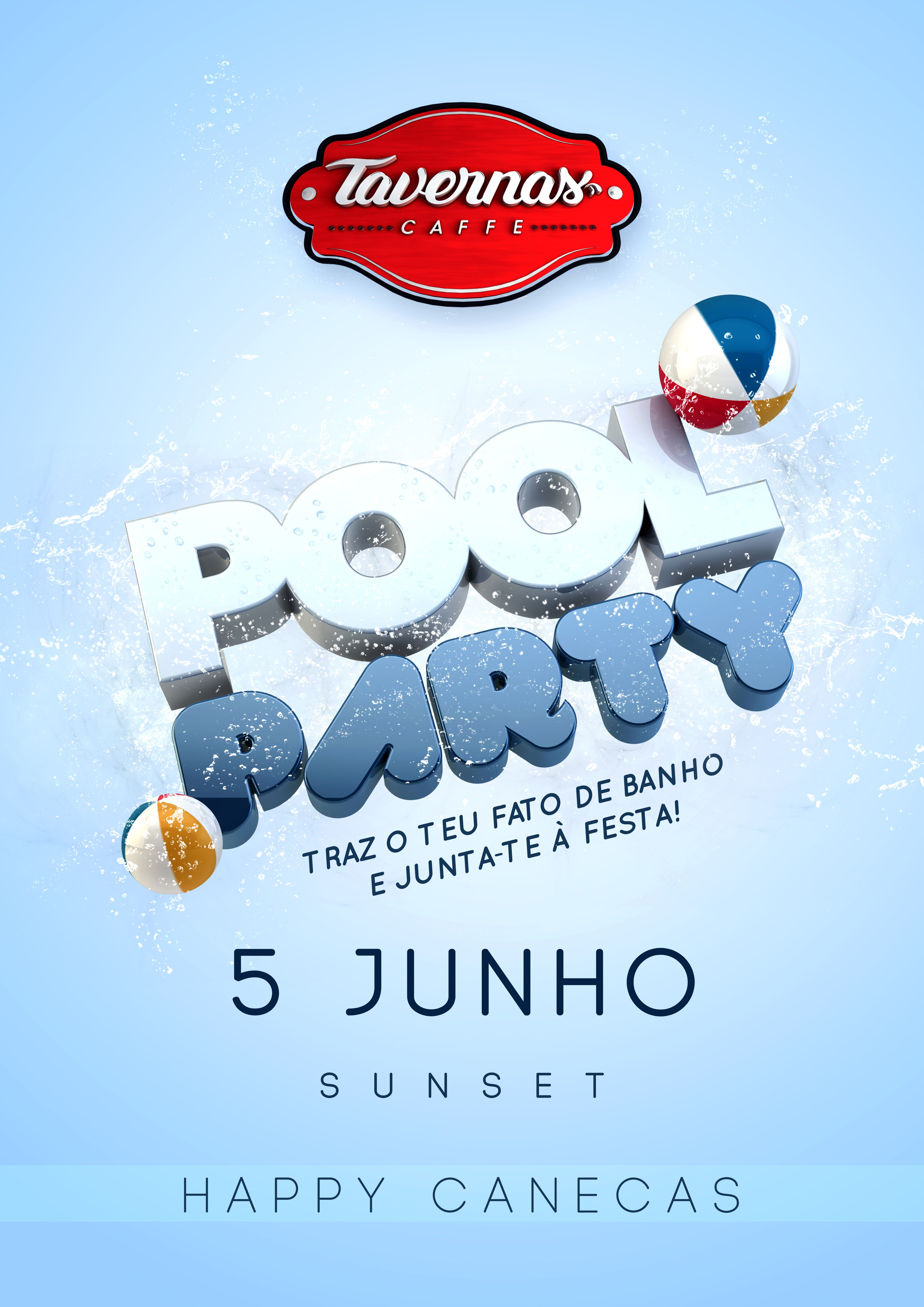 Blank Pool Party Flyer Template