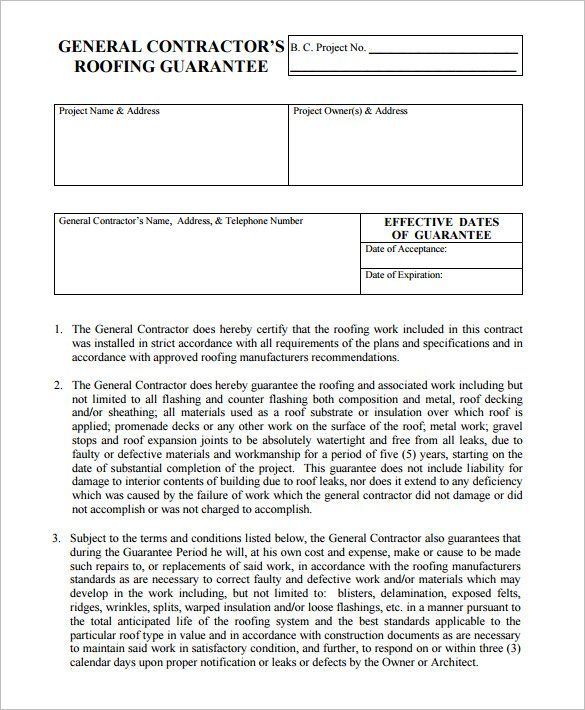 15 Roofing Contract Templates Contract Template Roofing