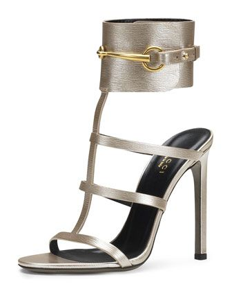 Ursula Metallic Ankle-Wrap Cage Sandal, Silver by Gucci at Neiman Marcus.  OMG!!!