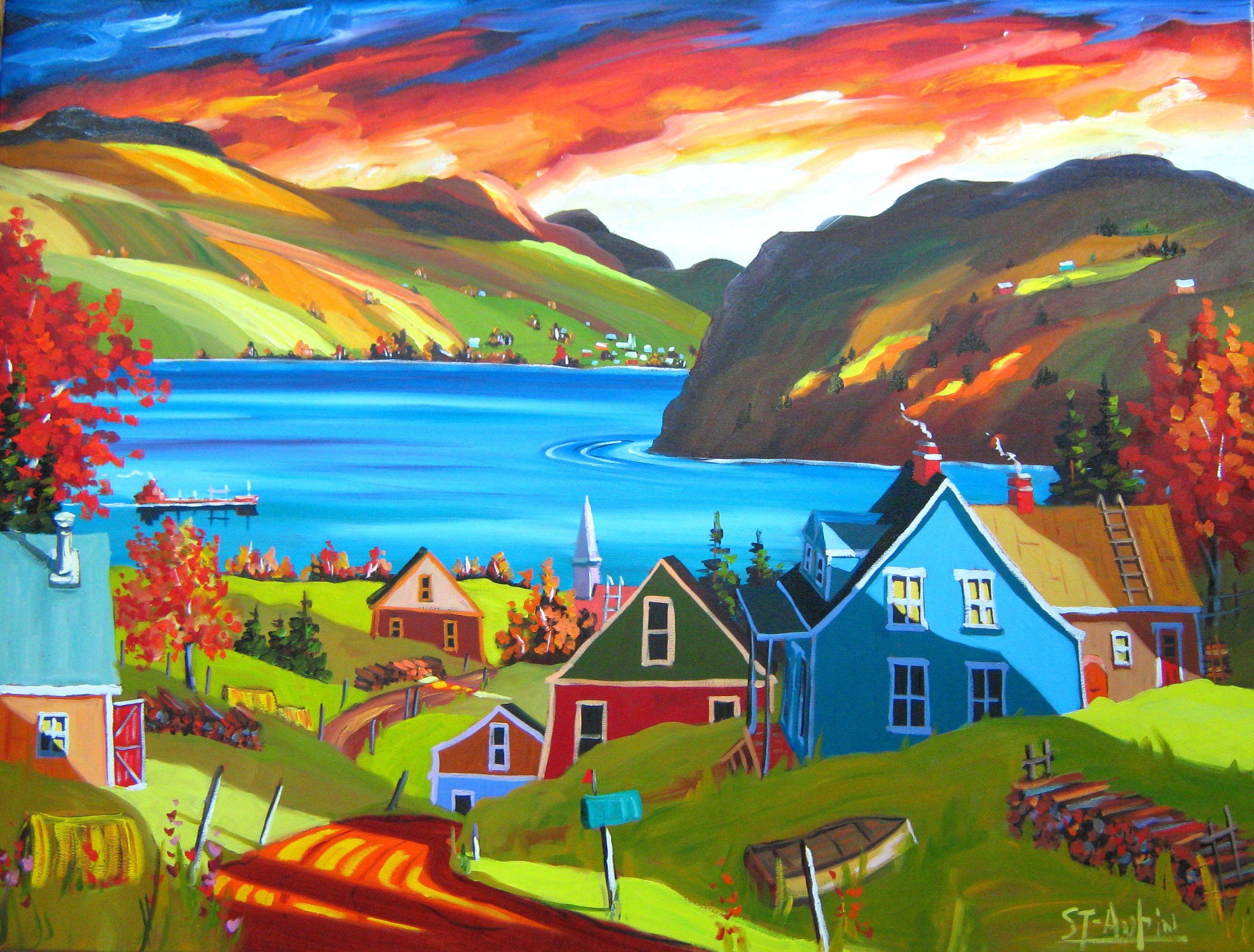 une le une baie 30 x 40 plus peinture paysage pinterest folk art folk and canadian. Black Bedroom Furniture Sets. Home Design Ideas