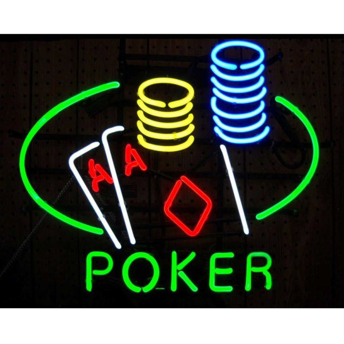 Poker Double Aces Table & Chips Neon Sign from