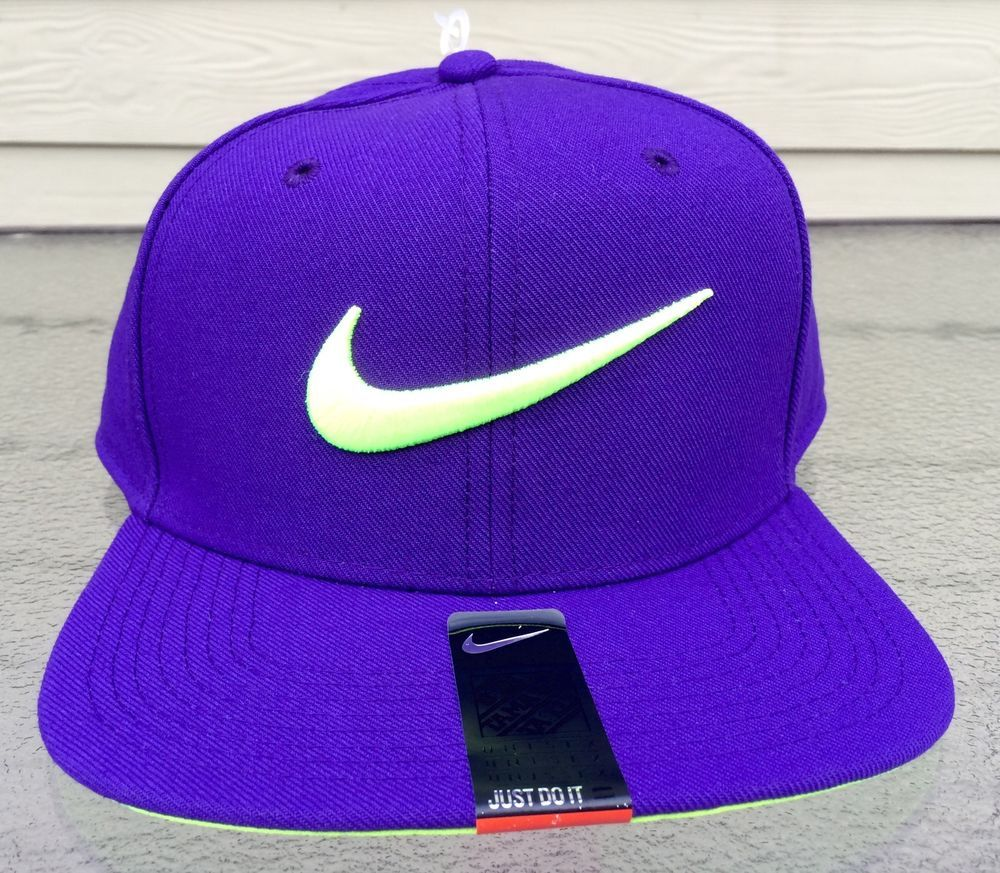 4554f0544c19c Mens Hat Nike Swoosh Pro Adjustable Snapback Purple Volt One Size Fits All  New