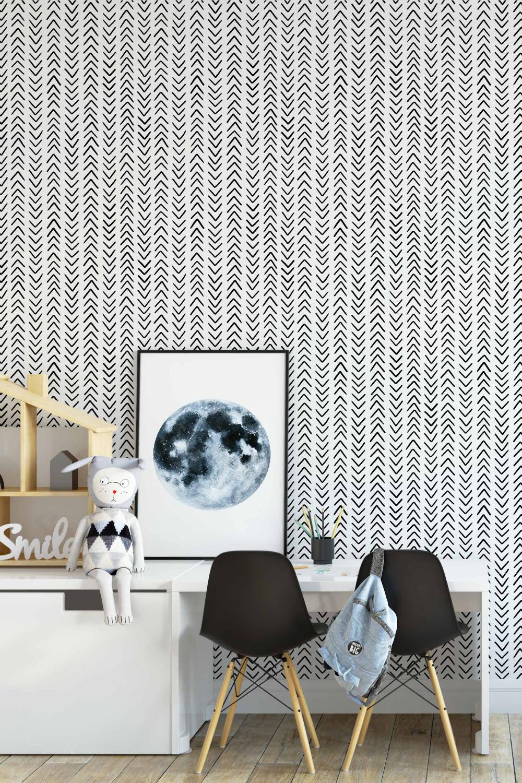 Black And White Herringbone Removable Wallpaper Removable Wallpaper Black And White Wallpaper Laundry Room Wallpaper