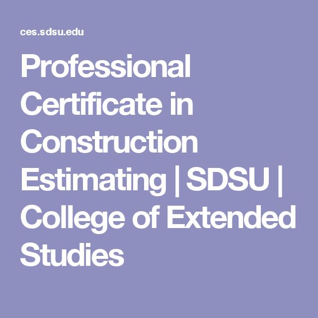 Professional Certificate in Construction Estimating   SDSU   College ...