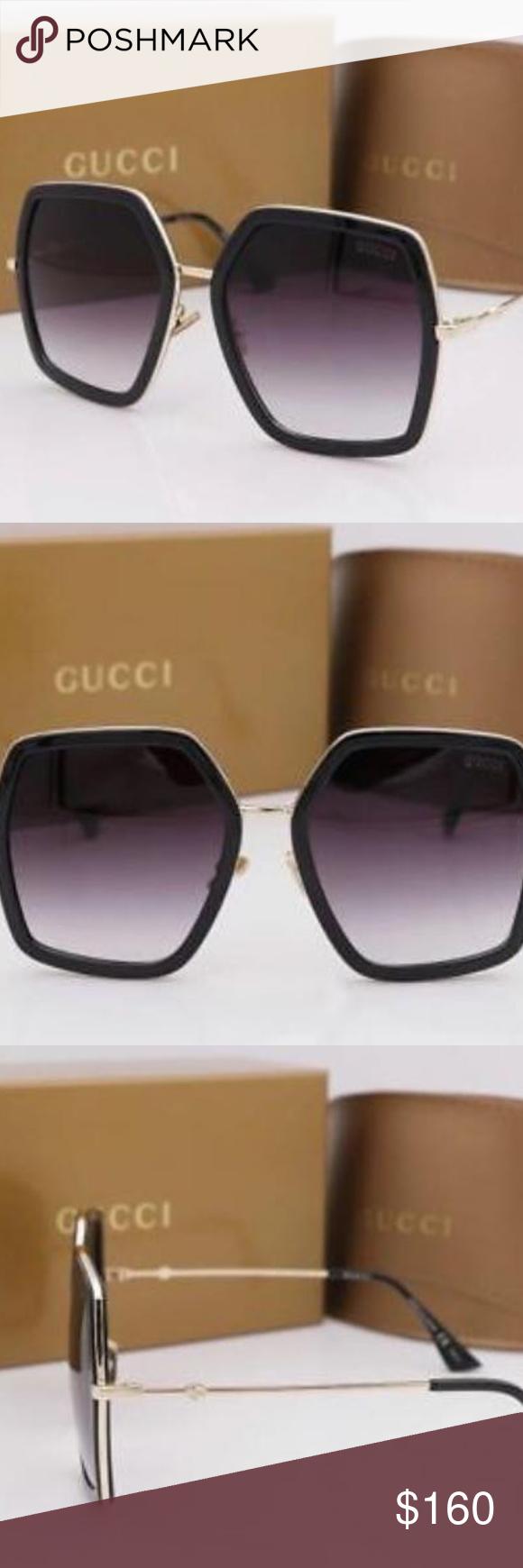 8b28dd3b01c Brand New Gucci Sunglasses GG 0106 S Black Gold Gr Gucci
