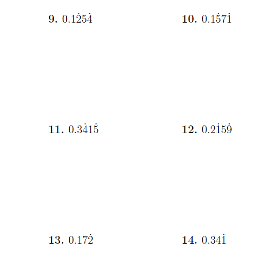 recurring decimals repeating and nonrepeating digits a worksheet  recurring decimals repeating and nonrepeating digits a worksheet on  converting recurring decimals with both repeating and non repeating digits  to