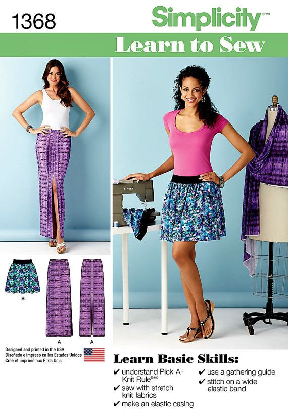 Learn To Sew Stretch Knits Pattern Easy Skirts Pattern By Blue510