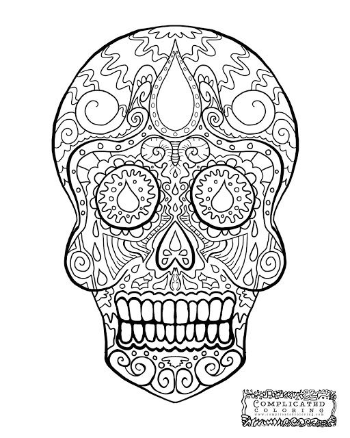 sugar skull abstract doodle zentangle coloring pages colouring ... - Complicated Coloring Pages