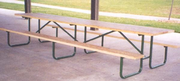 10 Ft Specialty Wood Picnic Table 16 Gauge Galvanized Metal Frame Pre Drilled
