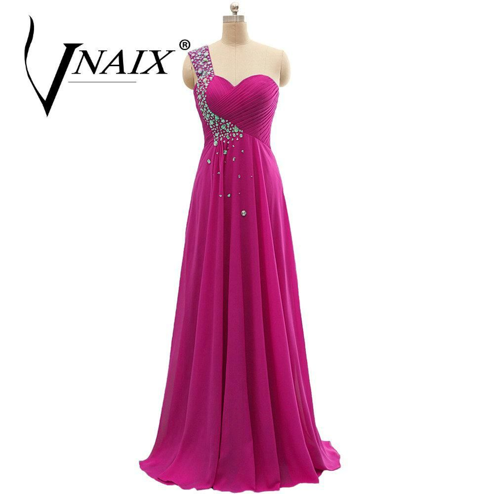 B022 In Stock Turquoise Peach Long Chiffon One Shoulder Crystal Real ...