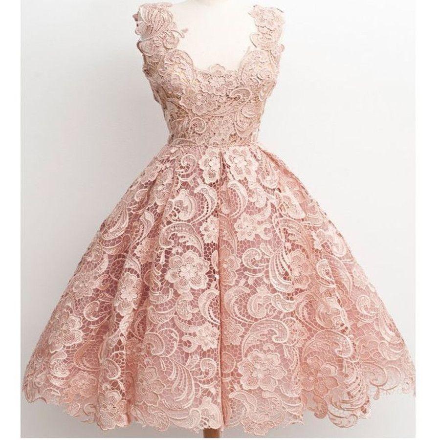 Dark Pink Lace Floral prints Vintage tea length elegant casual ...