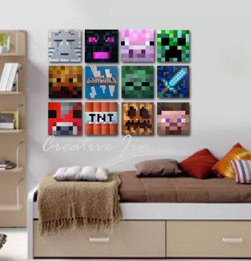 "Kids Bedroom On Minecraft minecraft inspired wall art, 8"" x 8"" flat canvas, kids room"