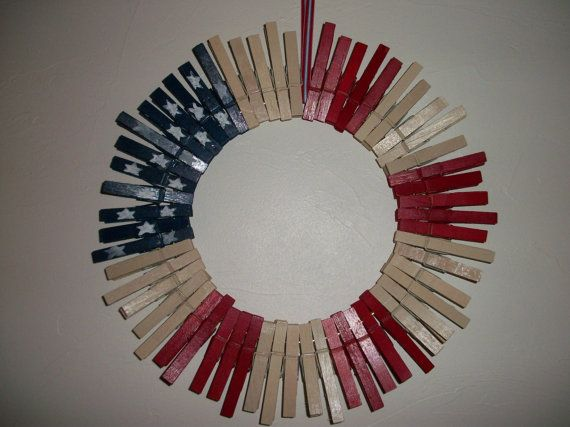 Red White And Blue Clothes Pin Wreath Clothes Pin Wreath Wreaths Craft Stick Crafts