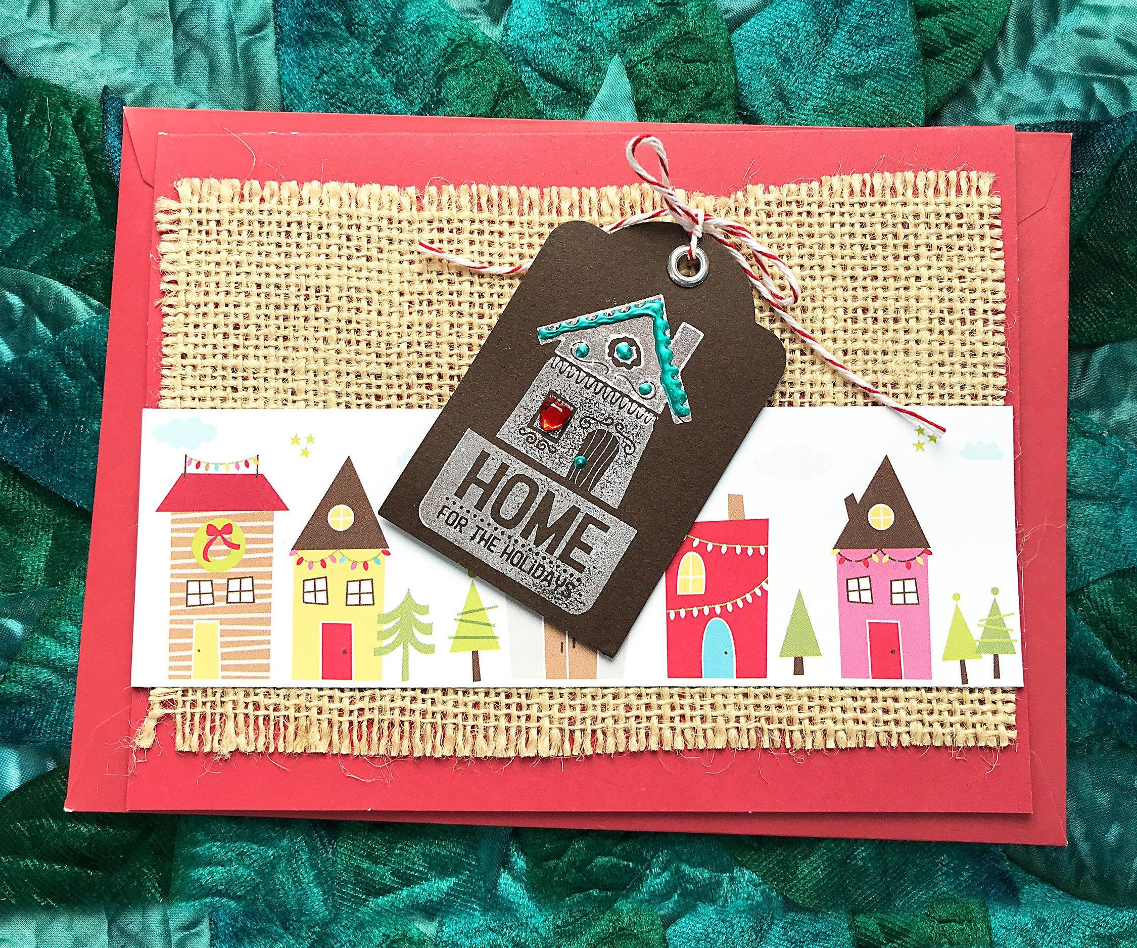 Home for the holidays log house greeting card winter