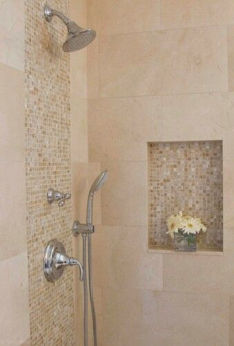 Accent Mosaic Strip With Large Subway Style Tile Bathroom Shower Tile Shower Tile Shower Remodel