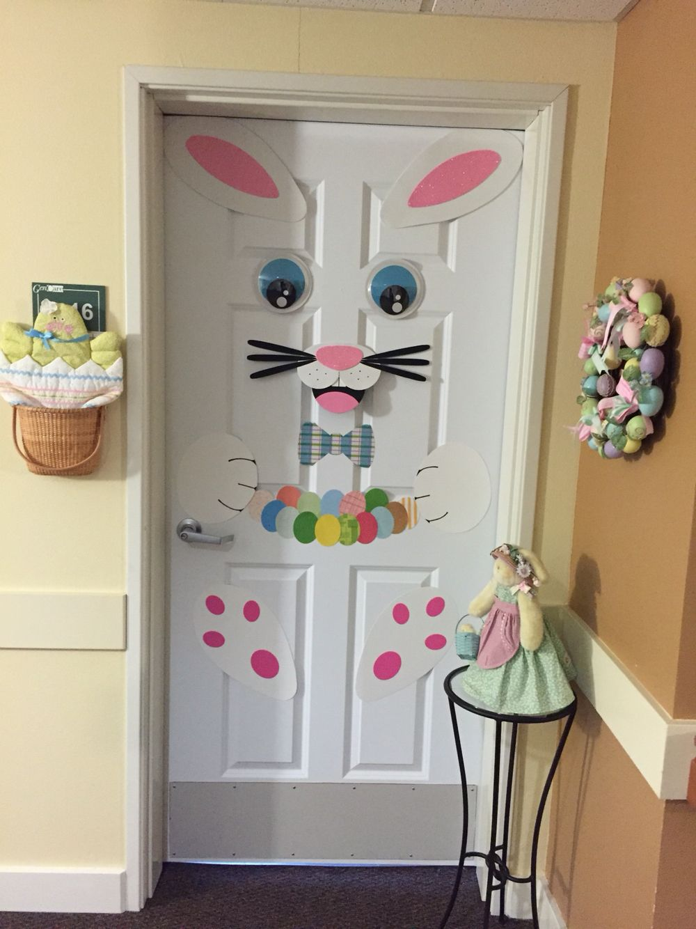 Easter Bunny Diy Door Decoration That I Just Finished It Was Pretty Easy