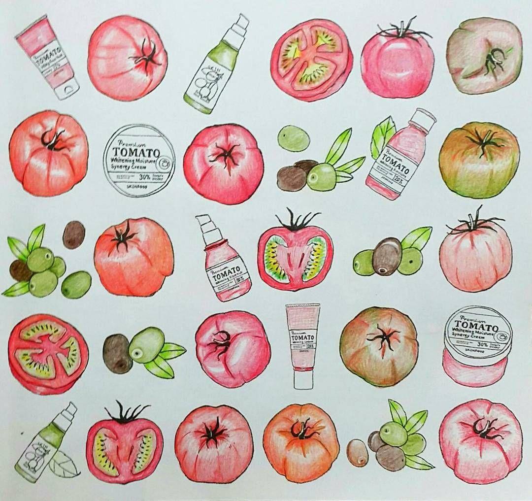 """Koreacoloringbook<스킨푸드 푸드 스토리> SKIN FOOD : FOOD STORY Spring garden Korea Makeup Brand <Skin Food> Tomato  토마토마토마토마토마토마토마토 왜 네온톤으로 나올까.. 실제로보면 다홍빛인데 ㅜㅜ…"""